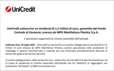 UniCredit sottoscrive un minibond di 1,5 milioni di euro, garantito dal Fondo  Centrale di Garanzia, emesso da MPG Manifattura Plastica S.p.A.